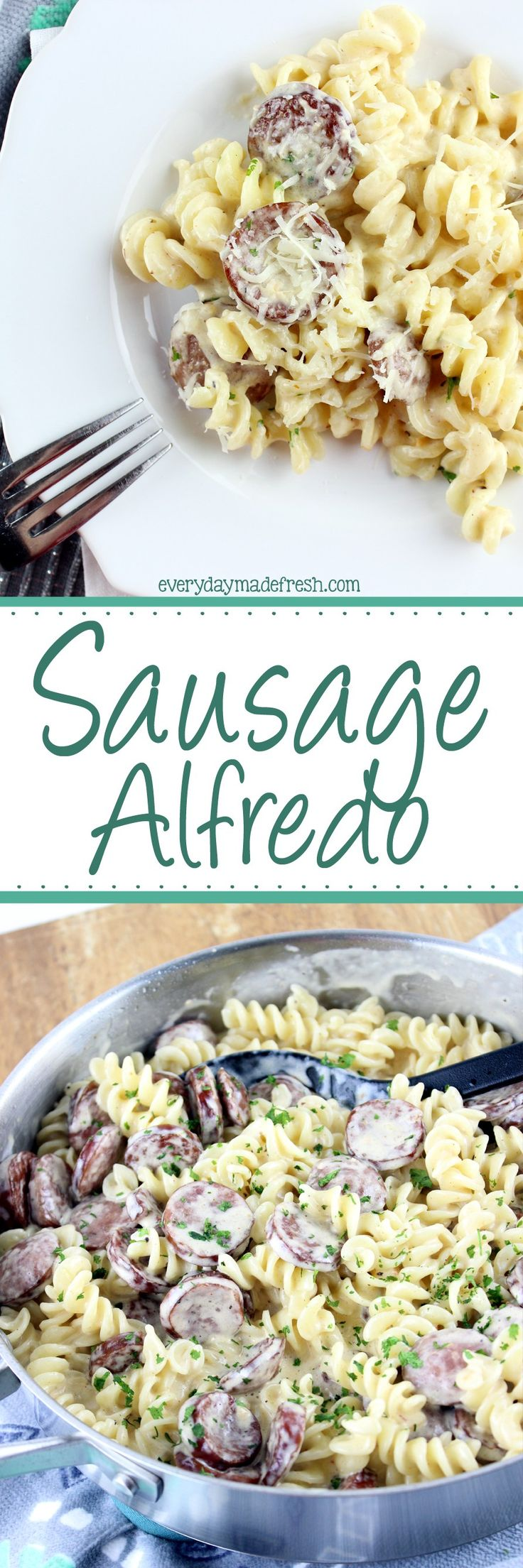 Creamy alfredo sauce, cajun seasoning, and smoked sausage make this Sausage Alfredo a dinner with 5 ingredients, and ready in less than 20 minutes. | EverydayMadeFresh.com