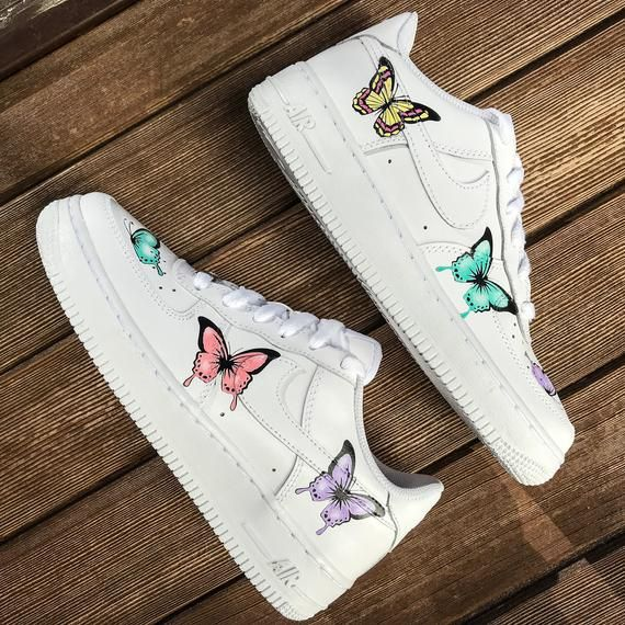 Custom Sneakers Nike Air Force 1 Butterflies Nike Air Shoes Cute Sneakers Trendy Shoes