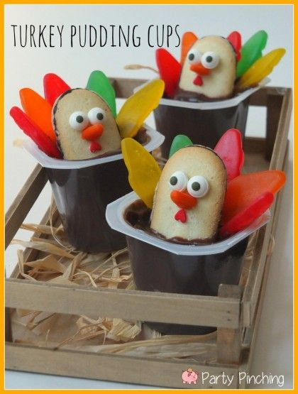 turkey pudding cups, kids thanksgiving ideas, easy thanksgiving dessert ideas, kids thanksgiving