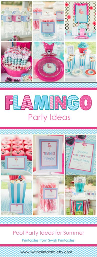 Flamingo Pool Party Ideas with printables  Favor tag, invite, thank you, water bottle label, cupcake toppers