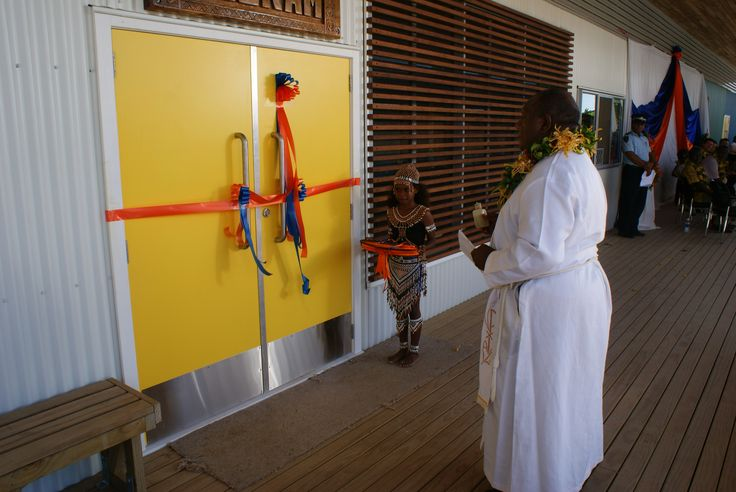 The grand opening of the Fred Hollows Foundation Eye Clinic in Honiara, moments before the ribbon was cut.