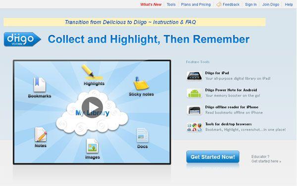 В Diigo.com есть личное пространство (My Library), где хранится разнообразная информация пользователя, причем, это не только закладки! Это еще такие возможности:  Заметки (Notes) — можно писать текстовые заметки и хранить их онлайн. Это очень удобно. + Подсветка (Highlight) важных мест на странице. Например, вам нужно выделить на странице ключевую мысль, важные моменты, чтобы потом вам было легко вспомнить суть статьи. + Изображения (Images) — можно сохранять отдельные картинки.