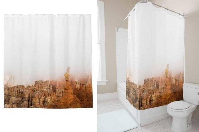 Or, my personal favorite, a shower curtain - 30 Brilliant Ways to Actually Use Your Travel Photos - Southernliving. Bet you wouldn't have thought of this one.  To buy: zazzle.com, $65
