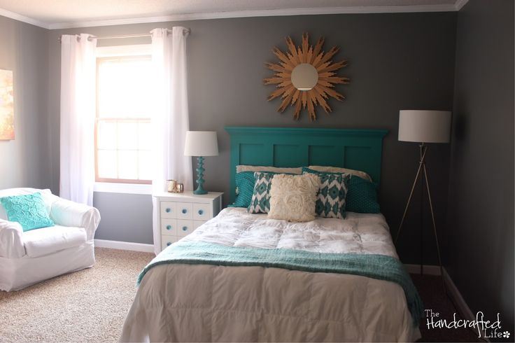 Teal White And Grey Guest Bedroom Reveal Love The Homemade Headboard Instructions Will