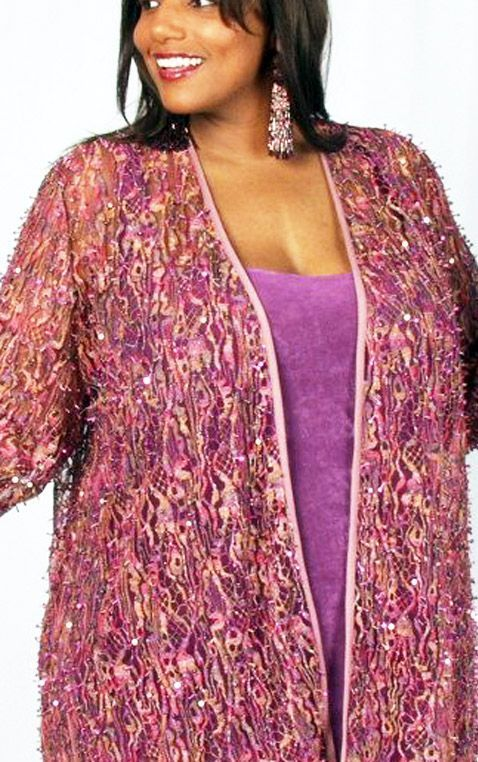 bc2a214532031 Plus Size Special Occasion Jacket Pink Sequins Lace 22 24 in 2018 ...