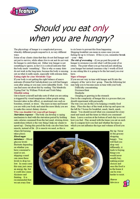 Should you eat only when you are hungry?