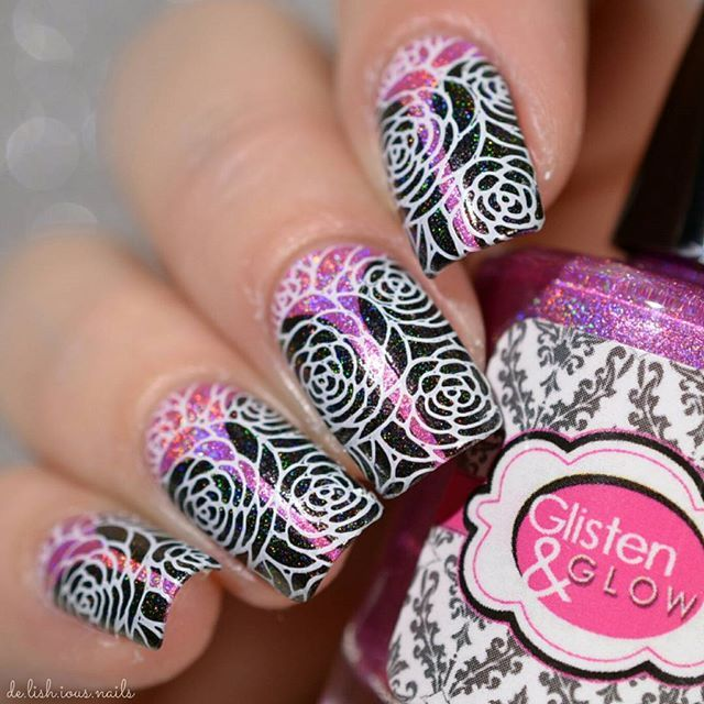 Nail Stamping over Stiletto Design. Roses Flowers. Black and Pink Holo.