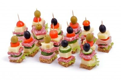 Decorative Fruit Kabobs   Summer Kabobs: Salami, Cheese, Cherry Tomatoes, and Black Olives ...