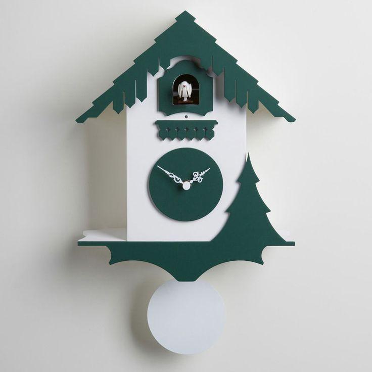 Orologio cucù da Muro CHALET in legno di betulla laccato 26x12xh33 cm