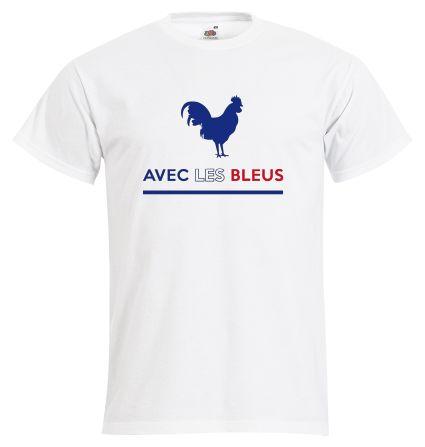 """T-shirt Homme FRUIT OF THE LOOM Blanc - T-shirt """"Avec les Bleus"""" #euro2016 #football #foot #allezlesbleus #tshirtpersonnalisé #comboutique"""
