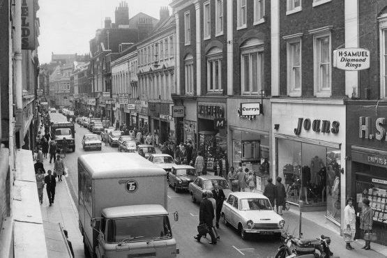May 1972.  Whitefriargate. One of the oldest shopping streets in Hull before pedestrianisation