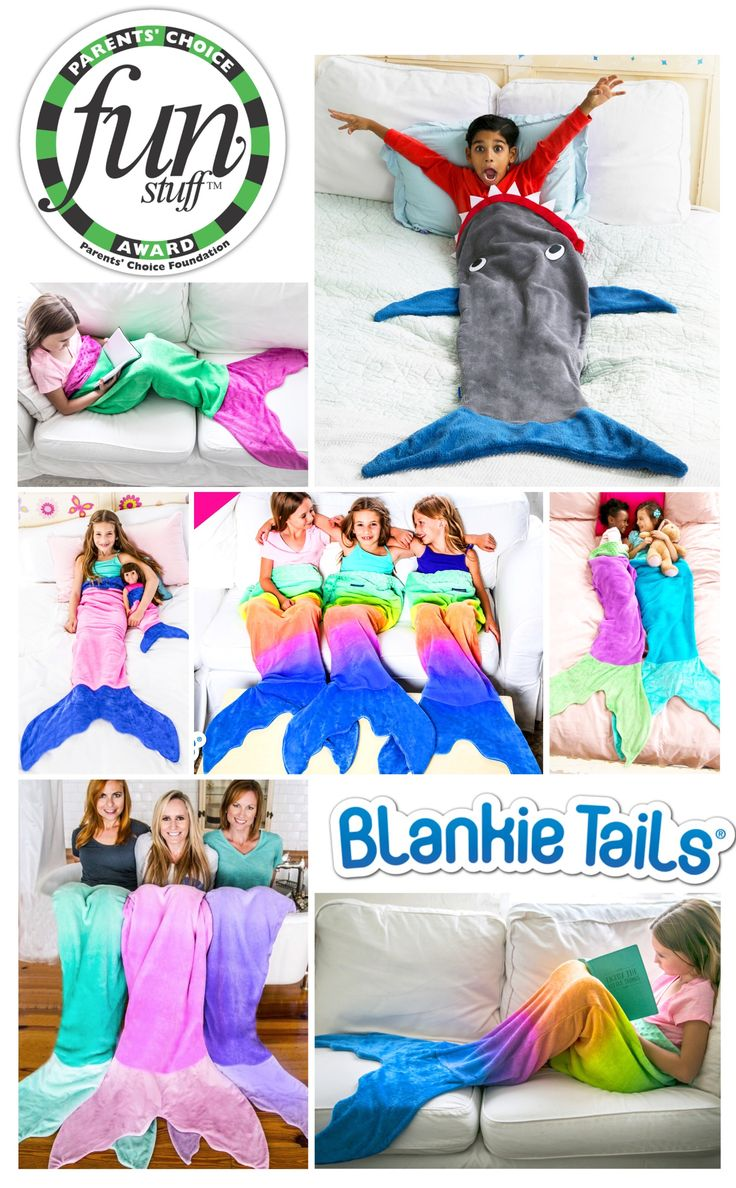 Feel like Ariel from the little mermaid in our MERMAZING Ombre Blankie Tails® or Be JAWESOME in our signature Blankie Tails® Shark Blanket! Winners of both the Parents' Choice and Tilywig Toy Awards for outstanding product! Available for Mermaid and Shark enthusiasts of ALL ages, Blankie Tails® are made from premium grade, super soft, double sided minky fabric, and a gorgeously sewn tail, which you can slide your feet into, Blankie Tails® are perfect for cozy fun at home or on the go!