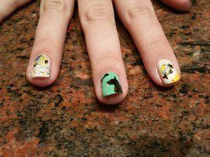 Nail Art - Anniversaire - Pour Femme - Fait Main - Fait Maison - Minions - Chiens - Os - 2015