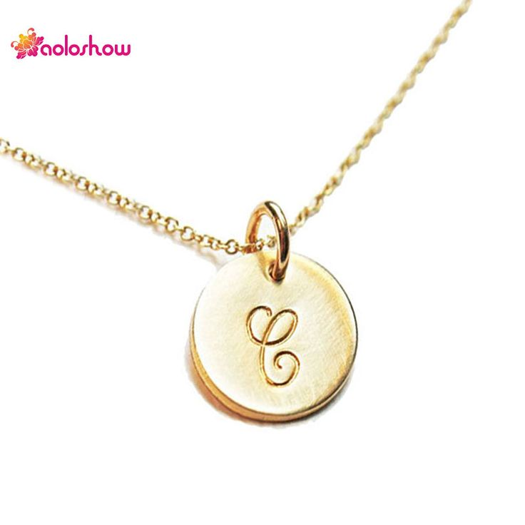 AOLOSHOW Initials Necklace Women Gold/Silver plated Collier Femme Jewelry Tiny Disc Initial Letters Pendant Necklace NL-2459