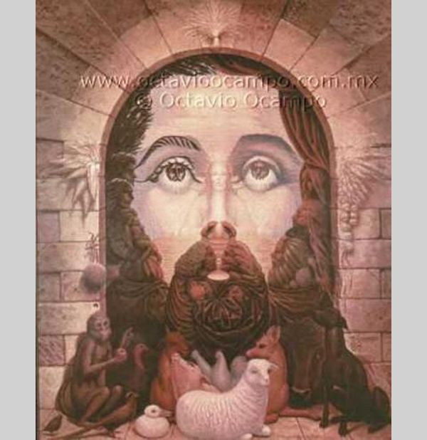 Jesus Illusion    The door and the animals in front of it together compose the face of Christ with Mary also visible inside it.
