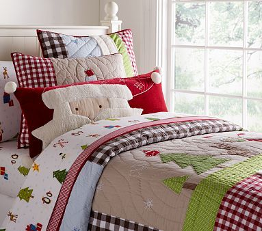 that santa pillow is adorable: Winter Wonderland Quilted Bedding #PotteryBarnKids