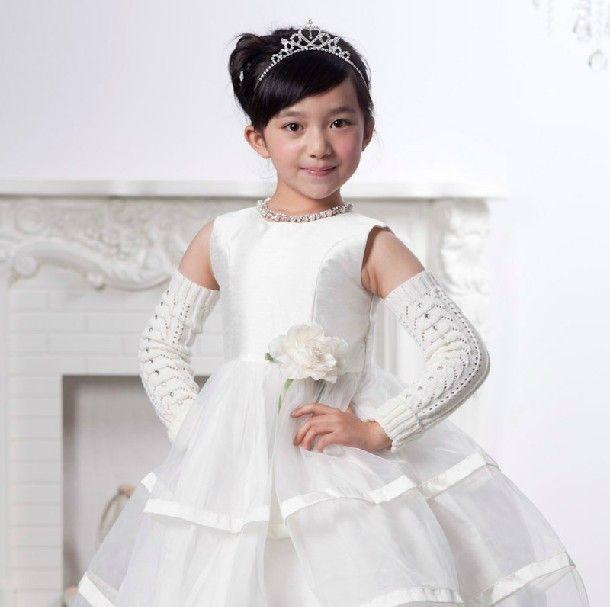 Blanc princesse robe de petite fille robes de mariée junior fille robe formelle, smokings pour les mariages mignonnes filles pageant robe gd051
