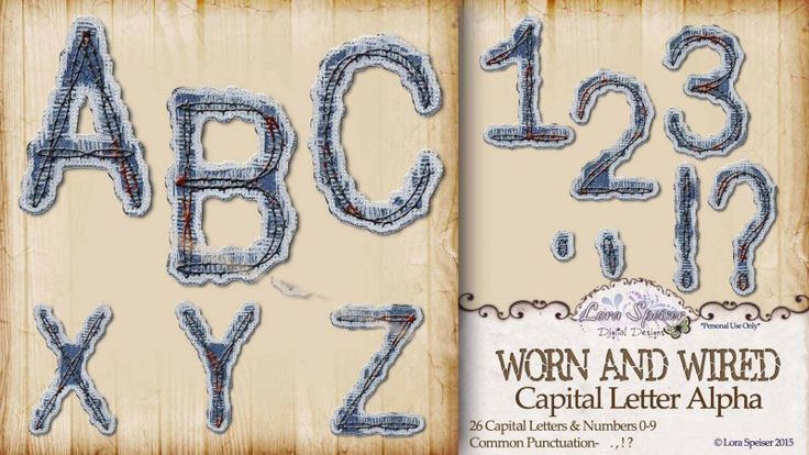 Worn and Wired Capital Letters Alpha