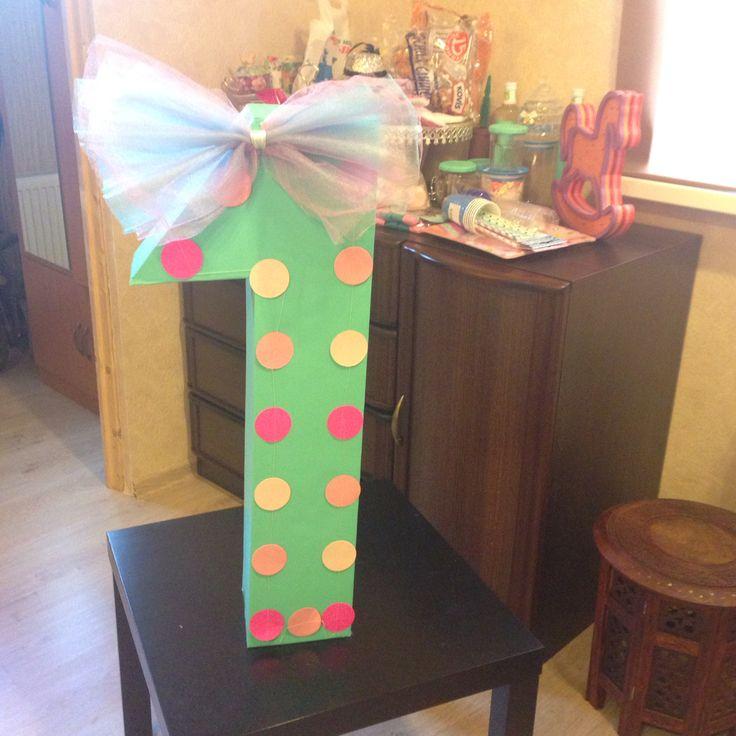 Наша циферка на первый годик дочки / Our hand made decor for first daughter's birthday