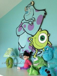 Monsters Inc Mike and Sully painted wall plaque