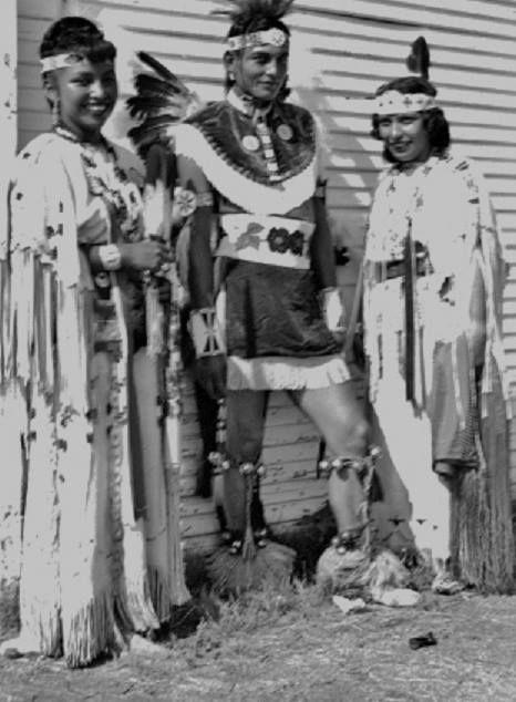 L-R: Vanette Mopope, Roger Williams, Georgine Ware at the American Indian Exposition in Anadarko, Oklahoma - Kiowa - 1949