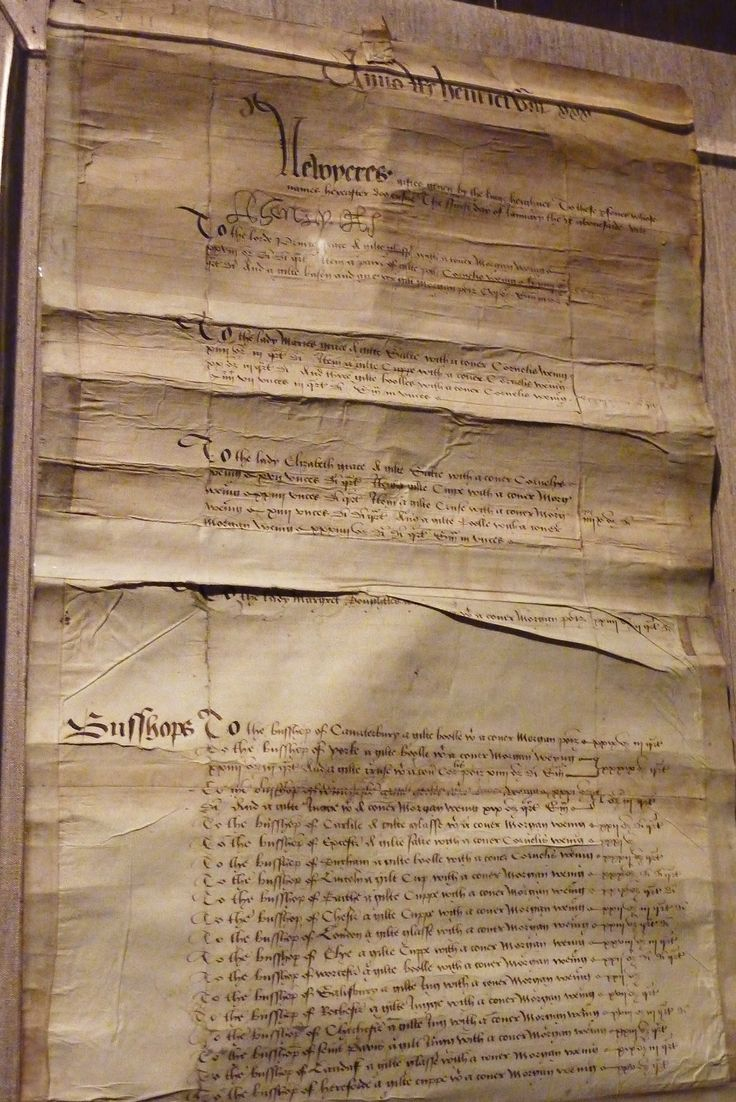 """Henry VIII's naughty-or-nice list for New Year's Day gifts, 1539. On this one you can see the headings for the """"Lord Prince [Eddie],"""" """"the Lady Mariee (Mary),"""" and """"the Lady Elizabeth,"""" followed by a large list for the bishops."""