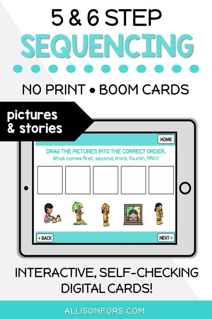 No Print Boom Cards 5 6 Step Sequencing Allison Fors Speech Therapy Activities Sequencing Activities Speech Therapy Materials