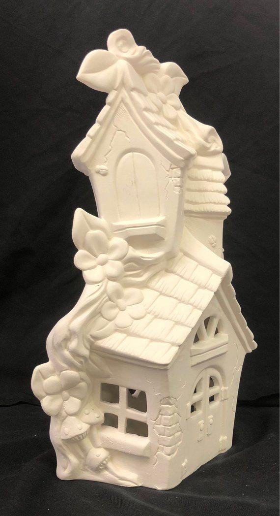 Ceramic Fairy House Ready To Paint Fairy House Mandevilla Etsy In 2020 Clay Fairy House Ready To Paint Ceramics Fairy House