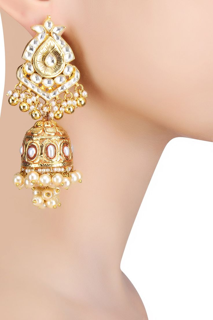 Anjali Jain presents Antique gold finish polki and pearls textured jhumki earrings available only at Pernia's Pop Up Shop.