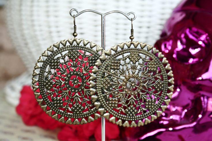 Bronze Mexican Spanish Aztec Bridal Wedding Earrings by BleakDesigns on Etsy