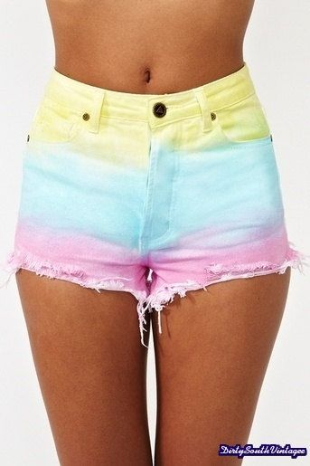 High Waisted Shorts: Summer Love Tie Dye   by DirtySouthVintagee