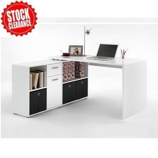 Flexi Wooden Corner Computer Desk In White 18083 Desks A Wide Range Of Styles At Furniture Fashion