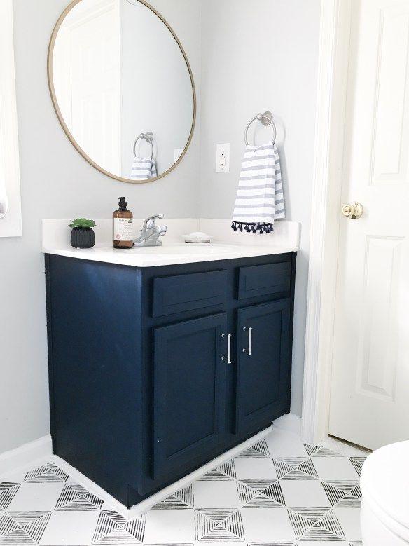 45++ Navy blue vanity powder room custom