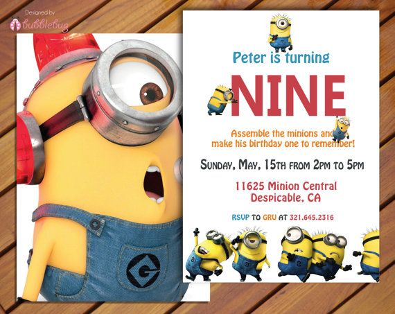 "Little Girl or Little Boy Despicable Me Minons Birthday Invitation - Modern Customizable - Invite  - ""5 x 7"" on Etsy, $10.25 CAD"