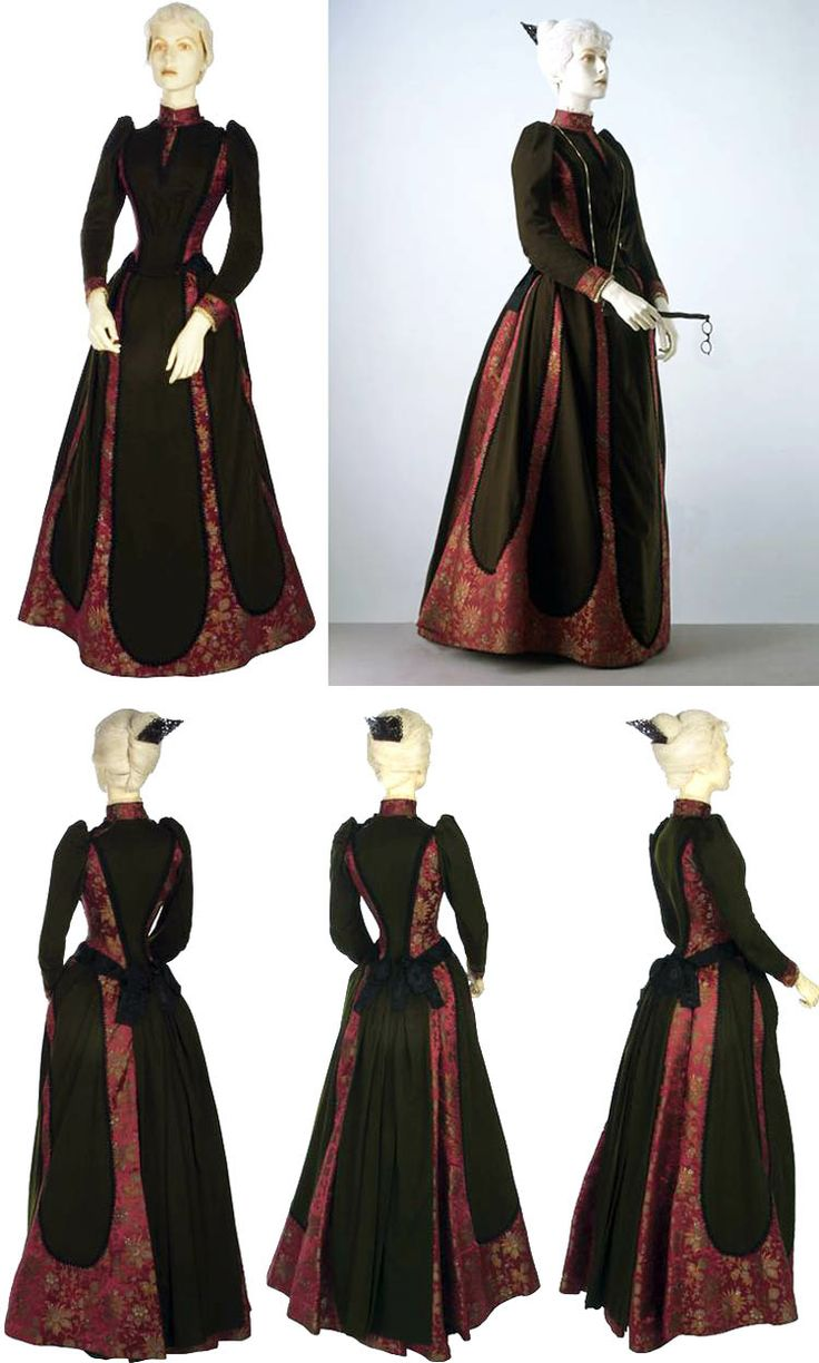 ~Day dress, Worth, ca. 1889~   Dark green wool and red-ground silk brocade. Bodice panelled with satin and edged with black moiré ribbon. Collar & cuffs faced with gold beaded tulle. Skirt has slightly draped front & flared back, with pleats. Mounted over green silk petticoat, boned & taped to bustle in back. Dress fastens at shoulder over boned green silk bodice lining. Victoria & Albert Museum