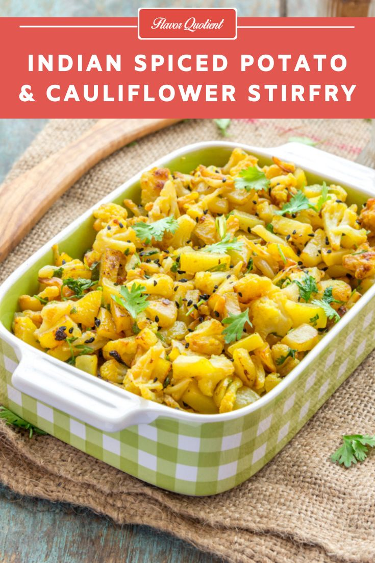 This mildly spiced cauliflower and potato stir fry is a favorite household recipe of ours and compliments really well wi…