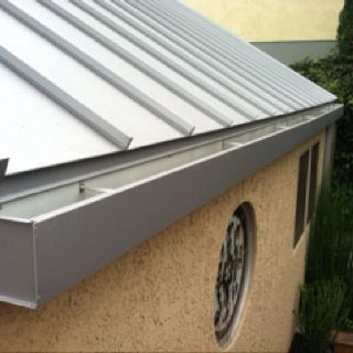 Image result for standing seam steel roofing gutter