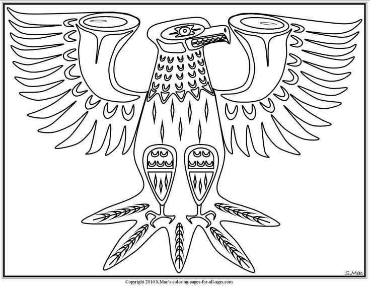 S mac 39 s pacific northwest native american eagle coloring for Native american symbols coloring pages