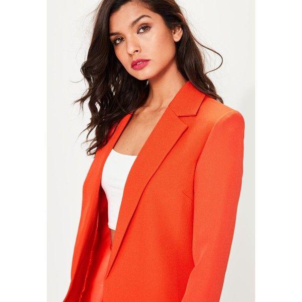 Orange Longline Blazer ❤ liked on Polyvore featuring outerwear, jackets, blazers, orange blazer, long red blazer, open front jacket, shoulder pad jacket and red orange blazer