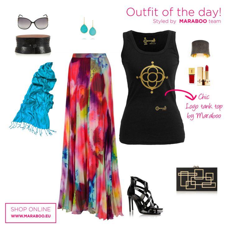 Maxi skirt,black tank top $32.90€,black clutch,blue scarf,black sunglasses