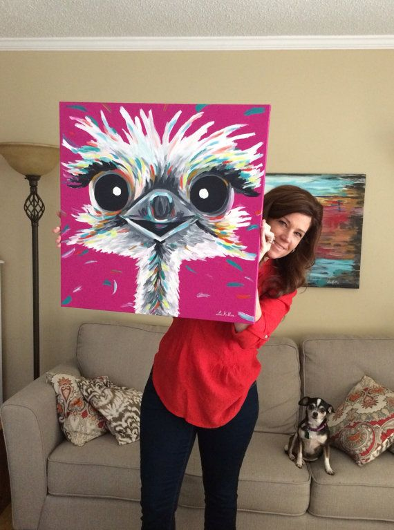 Ostrich Painting custom colorful fun animal art by HippieHoundUSA