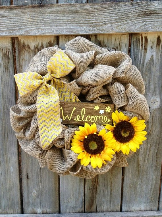 Fall Burlap Wreath-welcome sign-wreath with by CozyCasa on Etsy