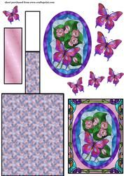 Pink Stained Glass Bloemen Butterfly schildersezel Card 1