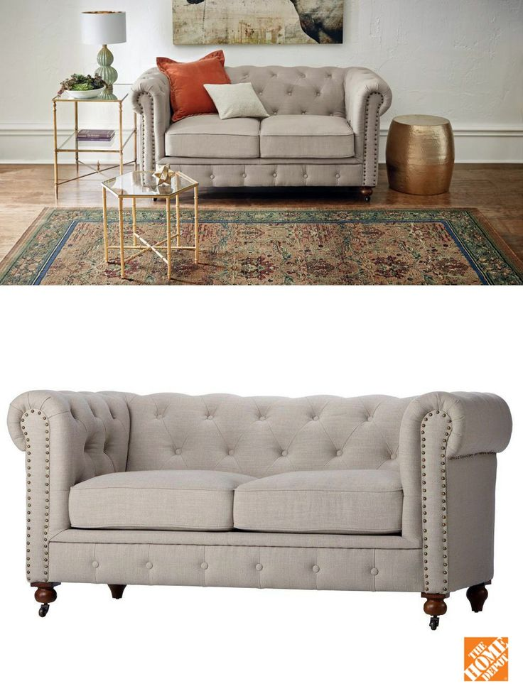 This lovely linen loveseat features classic lines and a gorgeous tufted back. It's finished with decorative nailhead trim accents that add the perfect finishing touch. Also available in black, blue or brown leather, or grey velvet.