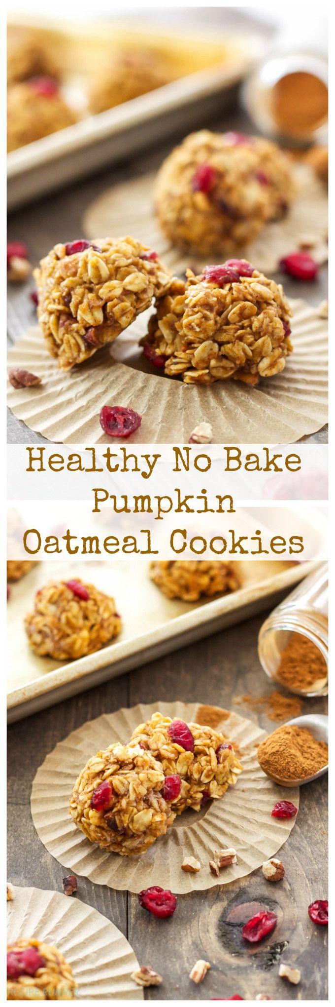 Healthy No Bake Pumpkin Oatmeal Cookies | These healthy pumpkin cookies are the perfect no bake fall treat!