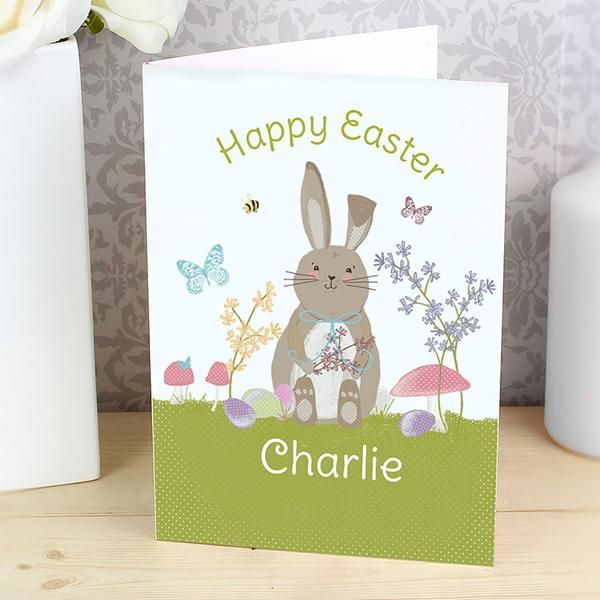 Personalised Easter Meadow Bunny Card - The Hut Market - Personalised Gift Shop