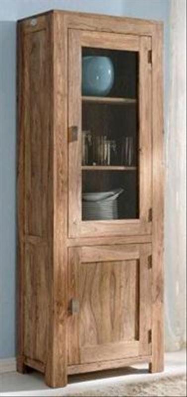 Vetrina a colonna sheesham in legno massello di palissandro