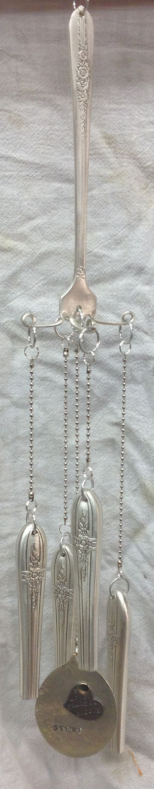 """Custom order stamped silver spoon, fork & knife windchime (part of a Remembrance set from 1 box of vintage/antique silverware) with removable keychain """"gong""""- made for Julie's Junquetique on etsy.com (1 of 5 pictures)"""
