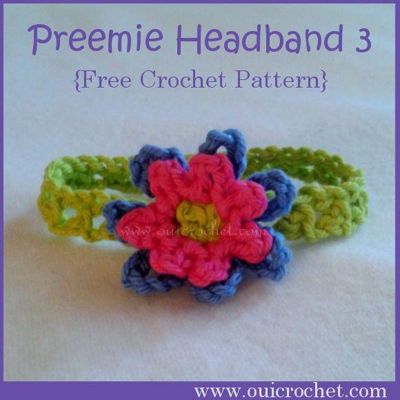 Crochet Pattern For Baby Shirt : Preemie Headband 3 ~ Oui Crochet Crocheted Preemie/Micro ...