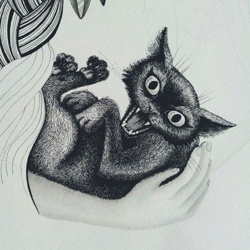 Popsurrealism hissing cat